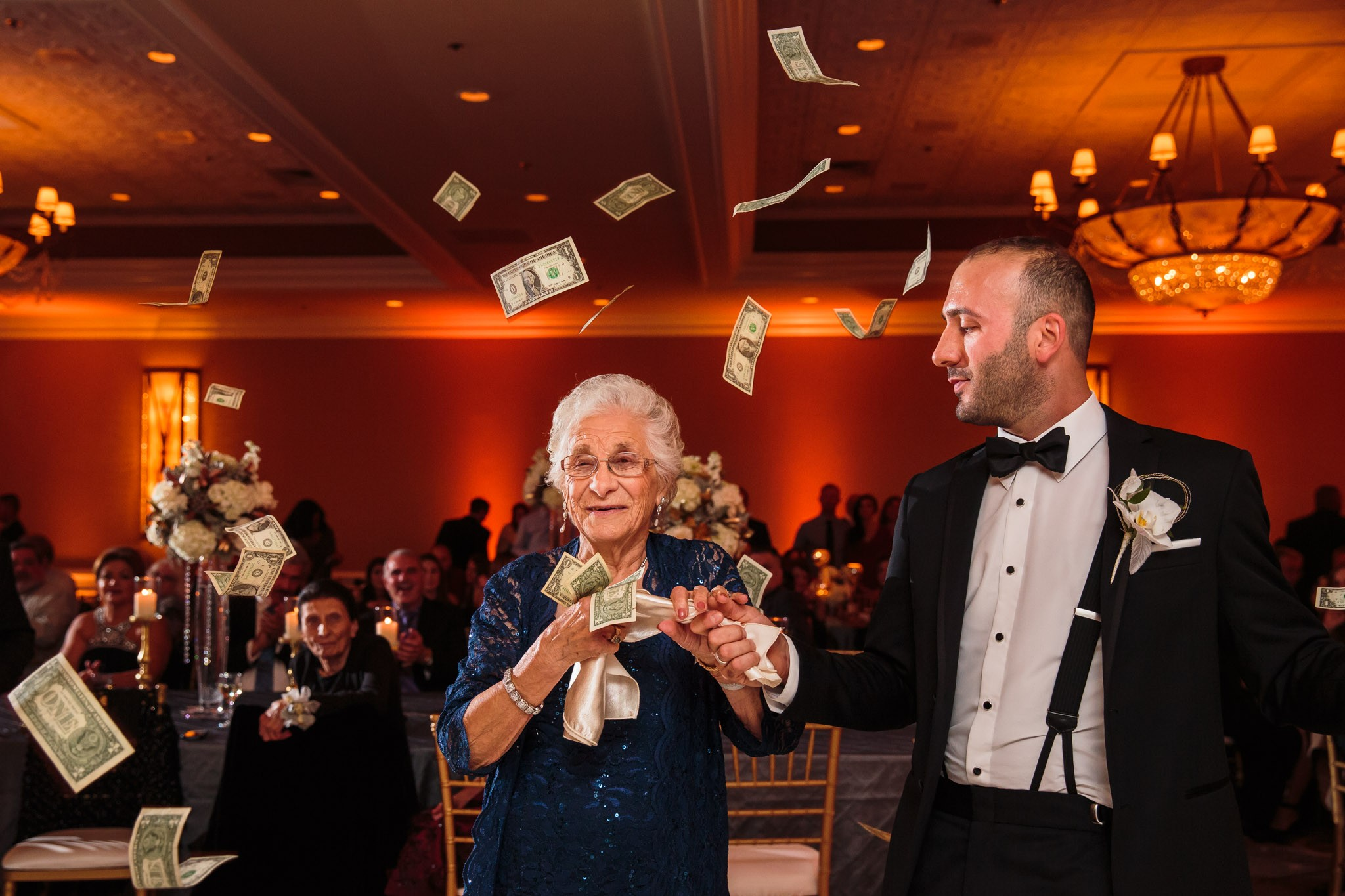 Grandma making it rain money.