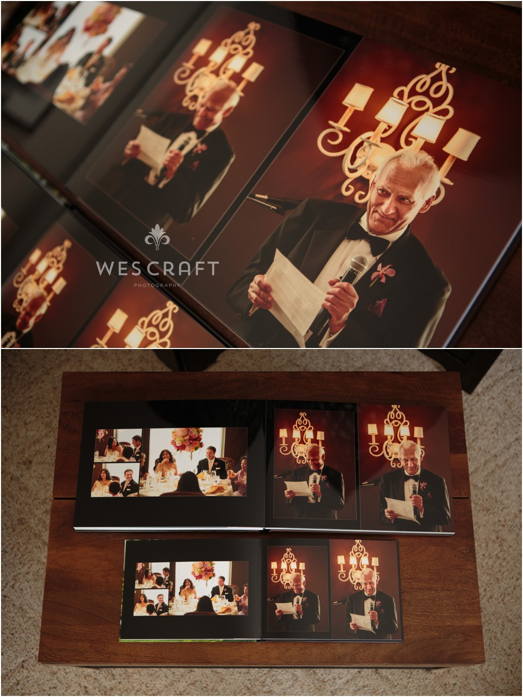 When your father gives such a great speech he deserves his own copy of the wedding album.  The parent books are mini replicas of the master album and share the same design.