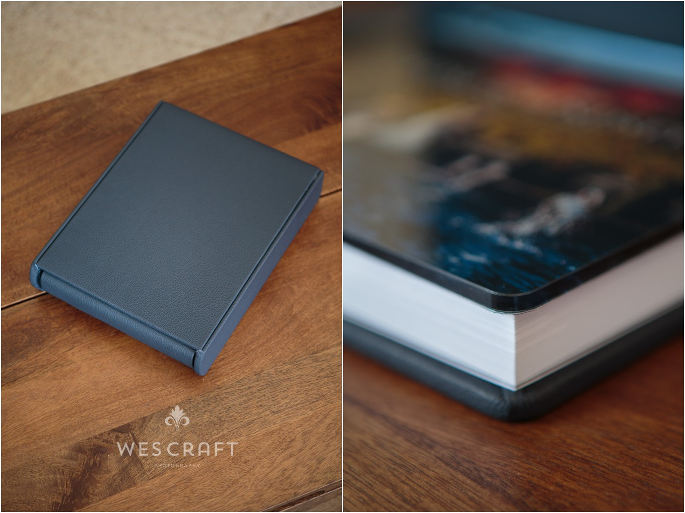 This Italian printed and bound album was given a deep blue leather binding with an acrylic photographic cover.