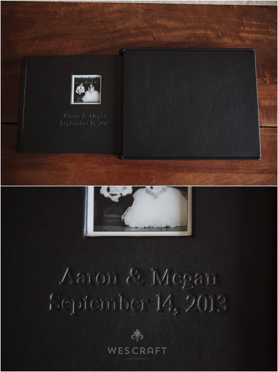 A distressed black leather was chosen for their cover and sleeve material.  A black and white photo decorates a square die-cut window.  Names are debossed.