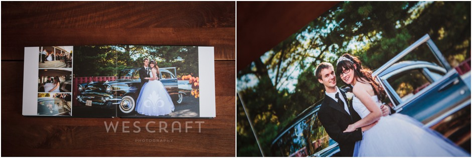 A classic car that served as their ride from the church to the reception made a great backdrop for this shot.  You can see the texture of the linen paper in the close up.