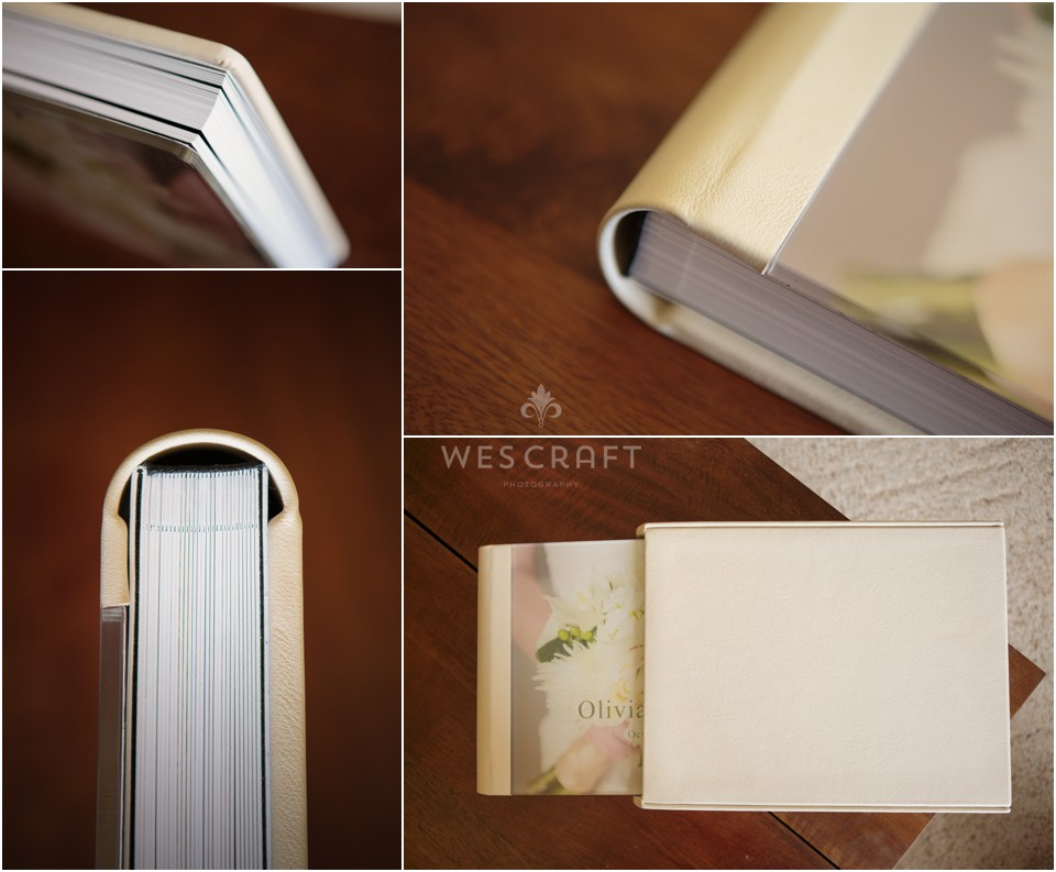 Here you can see the flush mount pages, the acrylic cover bound with ivory genuine leather.  Olivia ordered a sleeve for her album to protect it from light.