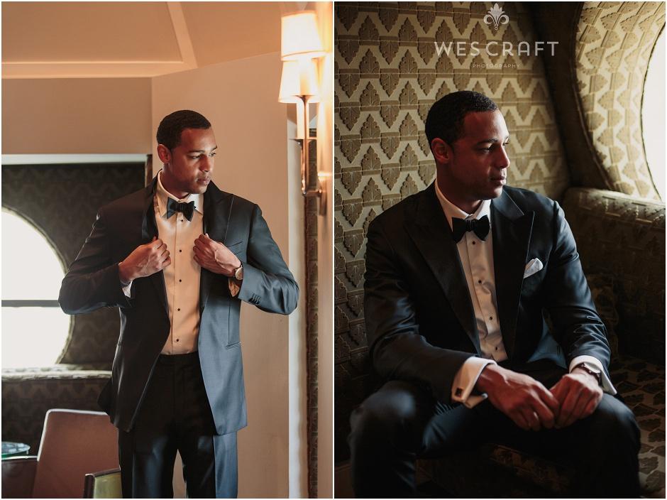 Getting Ready Groom Portraits, Black Tie Wedding, Blackstone Chicago Wedding
