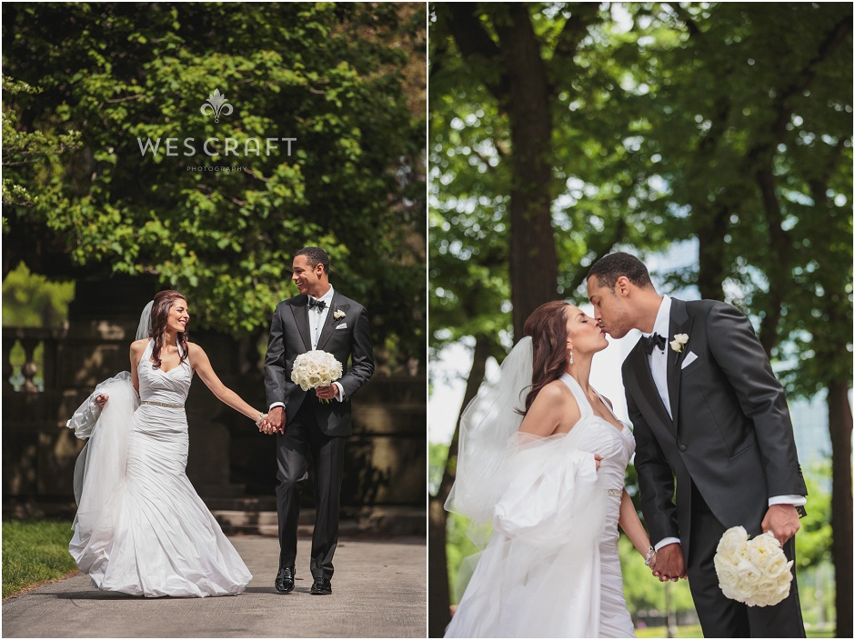 Grant Park Bride and Groom Portraits, Romantic First Look, Chicago Downtown Wedding