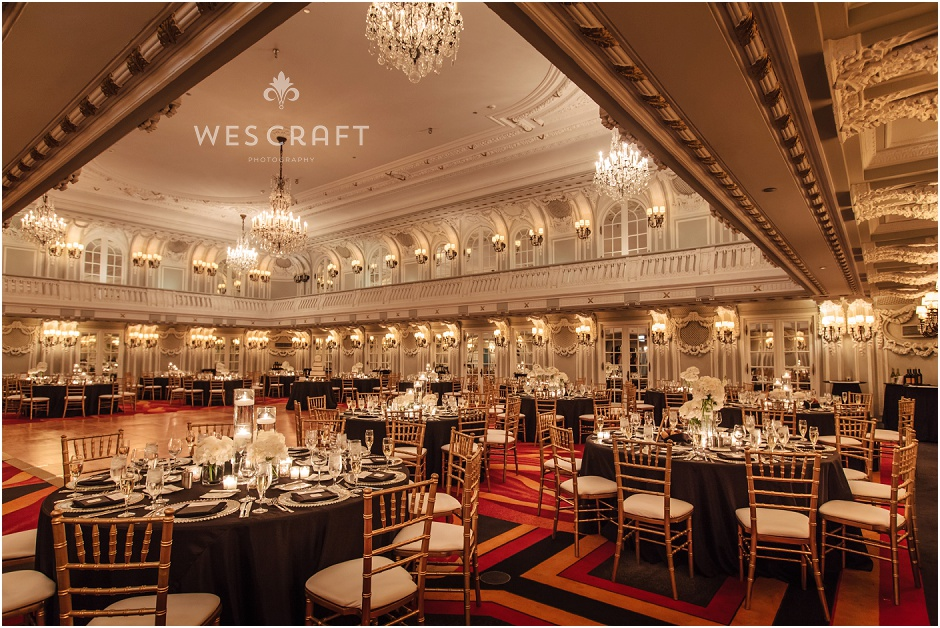 Chicago Blackstone Hotel Wedding Golden Chivari Chairs White On
