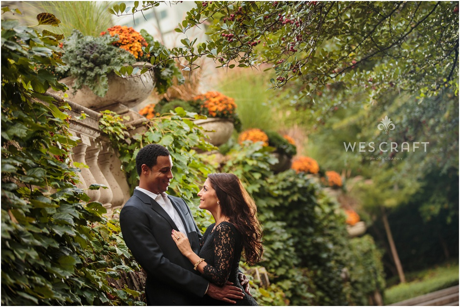 Outdoor Garden Engagement Session, Wes Craft Photography, Flowers, Nature, Art Institute Garden
