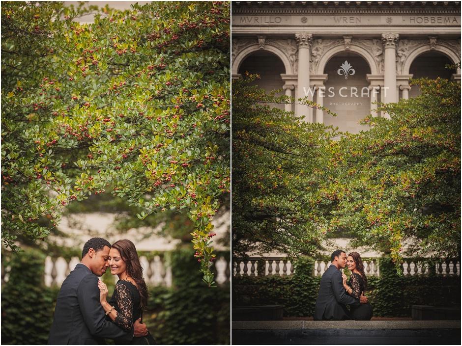 Art Institute Garden Engagement, Chicago Architecture Engagement, Wes Craft Photography