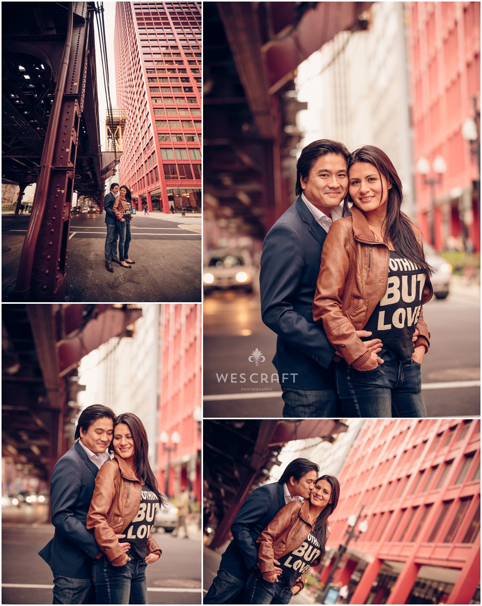 Chicago Engagement Photography Under the EL