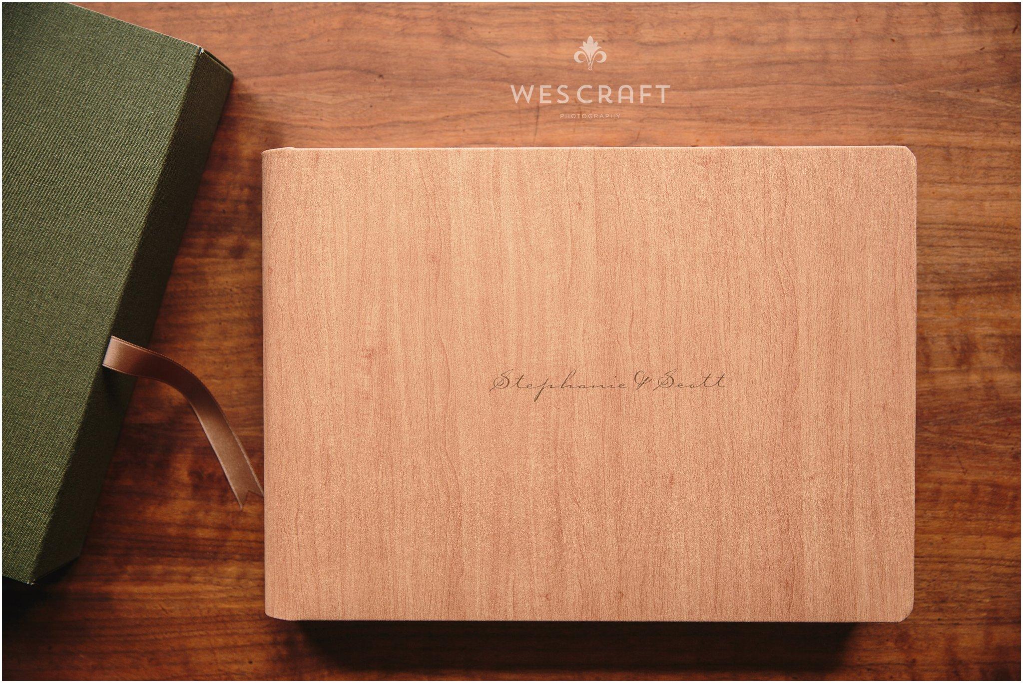 Keepsake Album | Maple Cover, Moss Box, Bronze Lining
