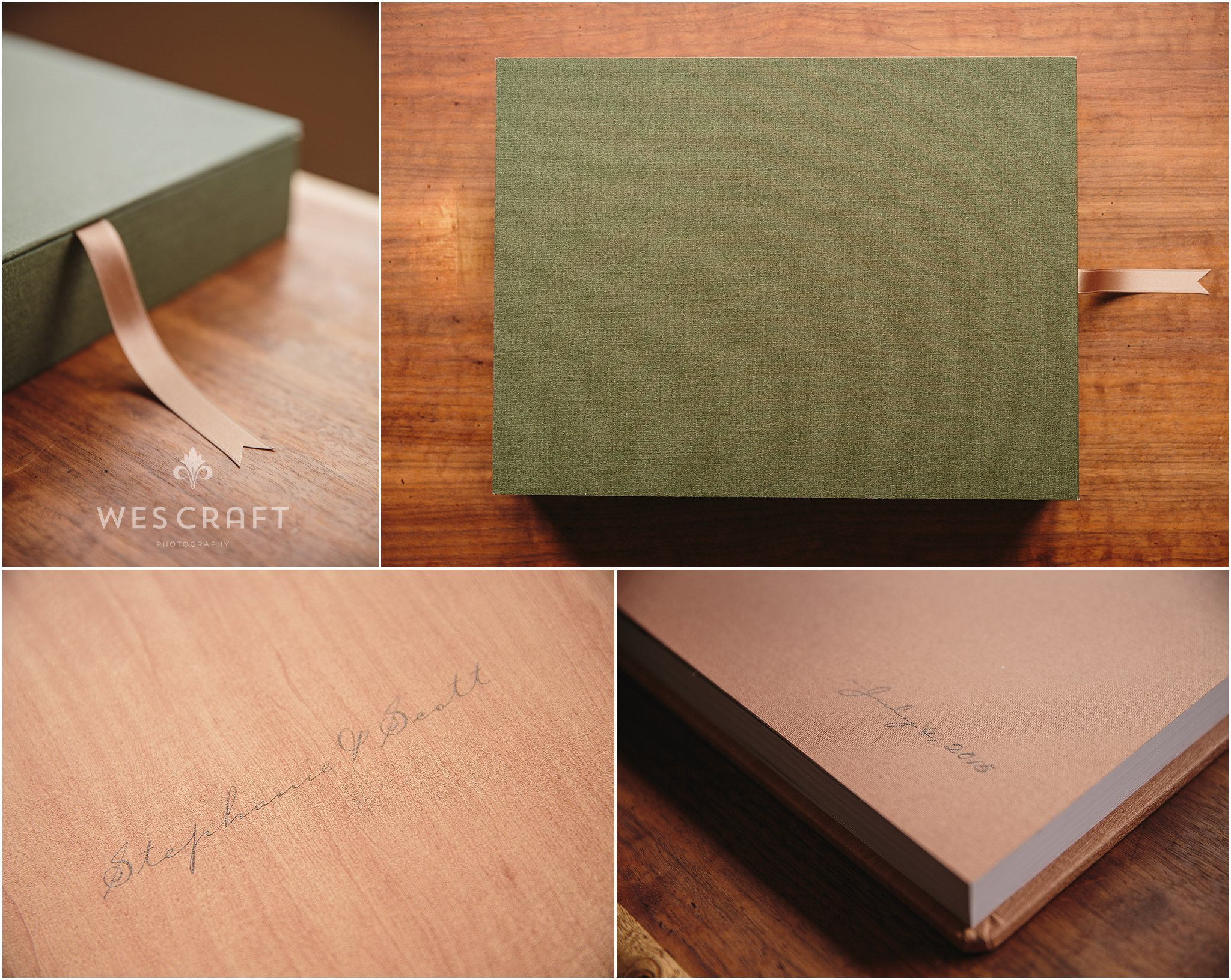 A hand chosen ribbon lifts your album out of it's custom made linen box. We chose moss green for this wooded themed wedding. The cover titles are overprinted in a Carpenter script on the Maple cover.