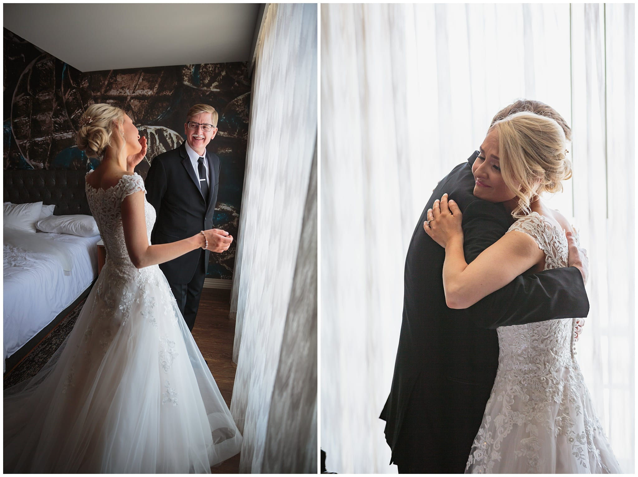 Father-Daughter First Look -Hotel Indigo Wedding - Wes Craft Photography