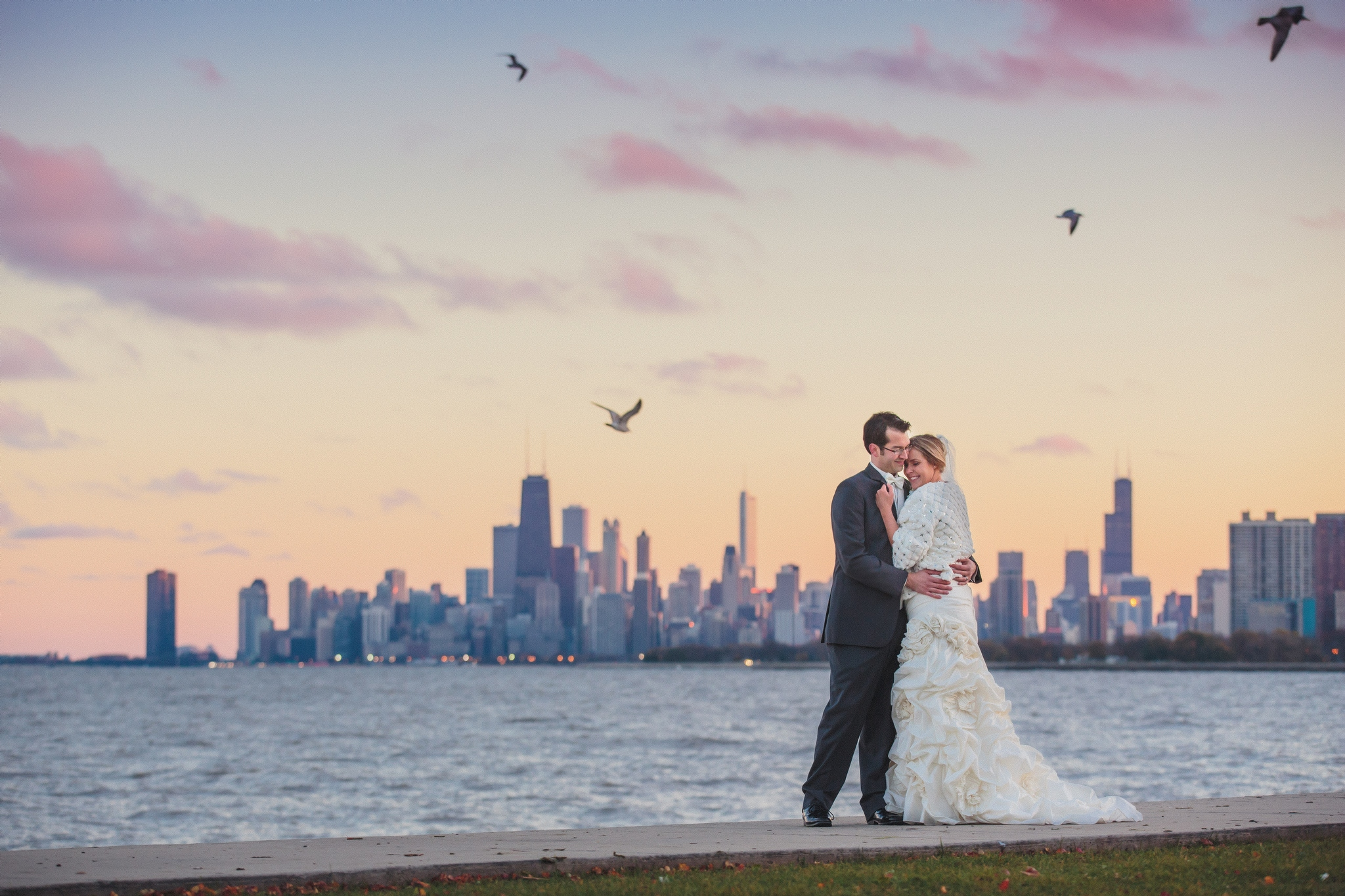 Sunset Chicago Skyline Bride & Groom Copyrighted Photography by Wes Craft