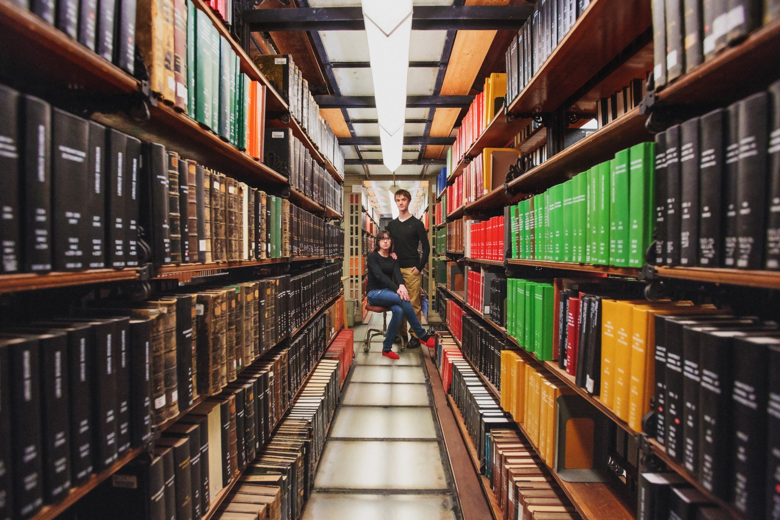 Nerdy Library Engagement Session Photo by Wes Craft