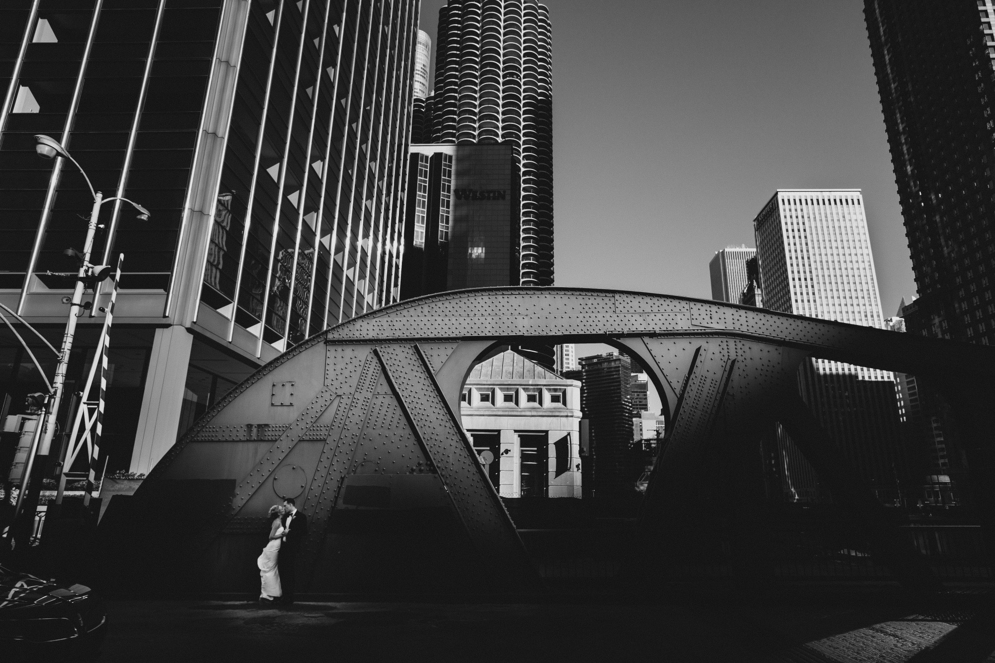 Chicago Bride on a Bridge at Dusk in Black & White by Wes Craft
