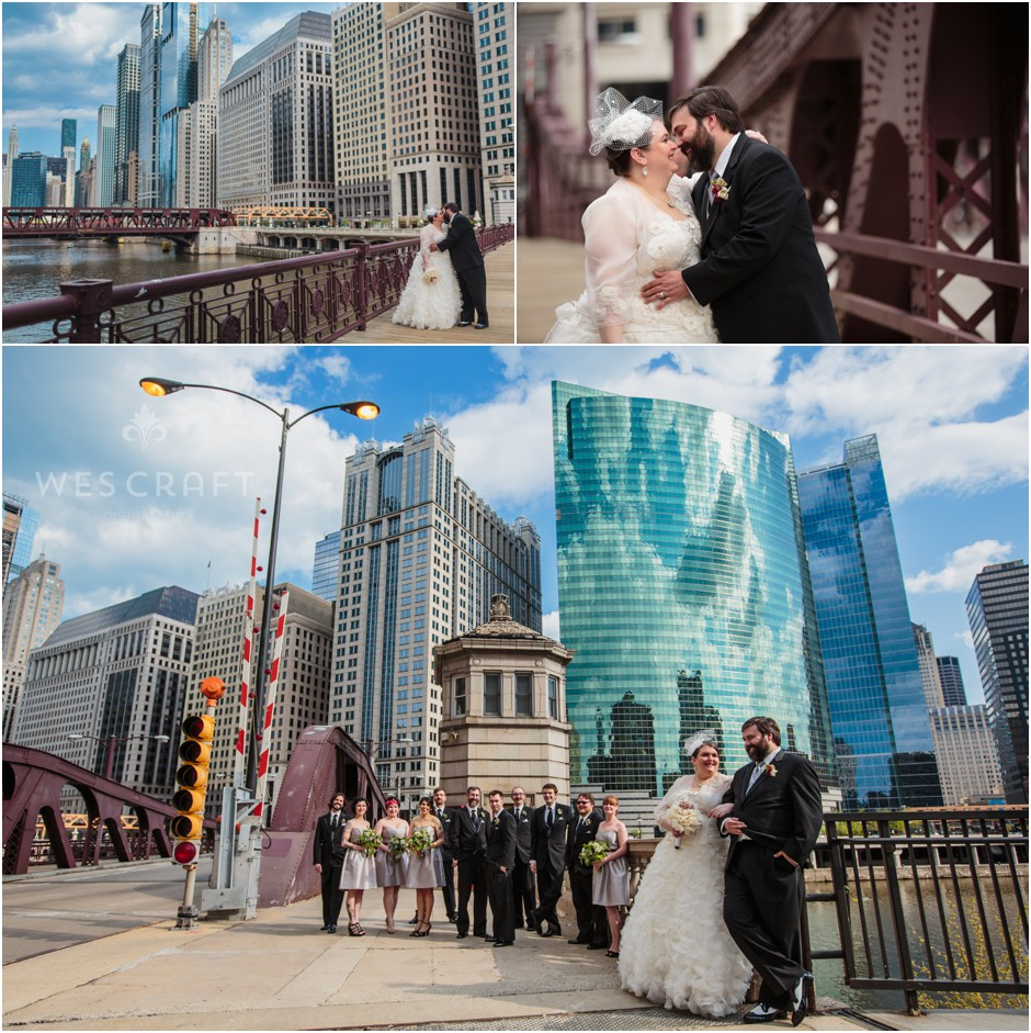 Franklin Street Bridge was a cool location for the wedding party to shoot between the wedding mass and the reception.