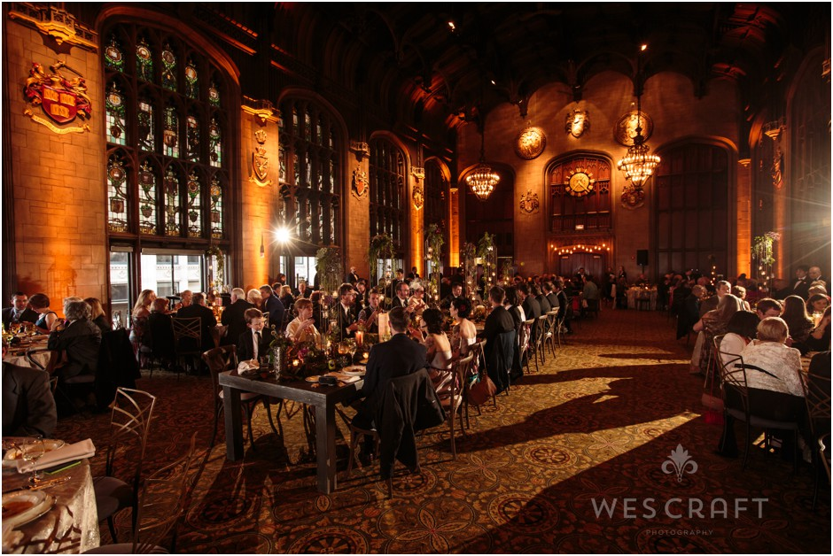 The wedding reception's head table in the Cathedral Room at the University Club of Chicago.