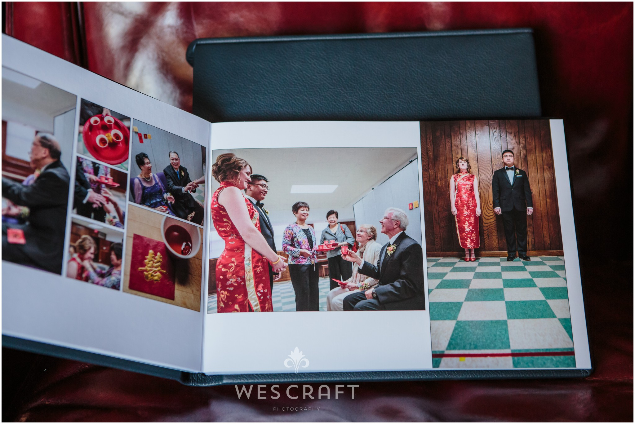 This Chicago couple had a traditional Chinese Tea ceremony in the church basement before the wedding ceremony. We made a serious Chinese wedding portrait as well! I love seeing this in print.